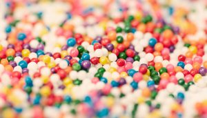 Hundreds of Multi-colored Mini Jawbreakers.