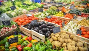 An assortment of vegetables stocked for sale.